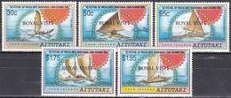 Aitutaki 1992 Kultur Kunst Culture Festival Verkehr Transporte Boote Boat Royal Visit, Mi. 692-6 ** - Aitutaki