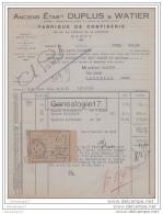 54 175A NANCY MEURTHE ET MOSELLE 1935 Confiserie DUPLUS Et WATIER 40/44 Ave De La Garenne Marque DEVE ˆ  BLACHER - Alimentaire