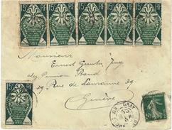 1925- Enveloppe De GRAY ( Hte Saône ) Affr.  à 1 F  Dont N° 211 X 7  Pour La Suisse - Postmark Collection (Covers)