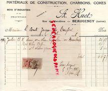 45- BEAUGENCY- RARE FACTURE A. HUET- MATERIAUX CONSTRUCTION CHARBONS- COKES-BOIS INDUSTRIE- RUE DE VENDOME- 1916 - Old Professions