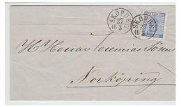 SUEDE -- 1865 --LETTRE DE SKORDE -- 12ÖRE H1 -- LETTRE INCOMPLETE -- - Suède