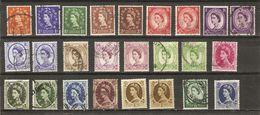 Grande-Bretagne - 1952/7 - Elizabeth II - Couronne Des Tudor - Série Complète Avec Nuances Et Variétés - Oblitérés