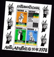 Tanzania, Scott #116a, Mint Never Hinged, Anti-Apartheid, Issued 1978 - Tanzania (1964-...)