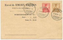 1726 - 10+12 Rp. Privatganzsachen-Postkarte Emery Frères, Ponts-de-Martel - Entiers Postaux