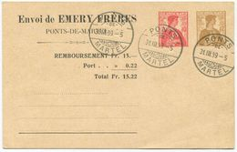 1726 - 10+12 Rp. Privatganzsachen-Postkarte Emery Frères, Ponts-de-Martel - Ganzsachen