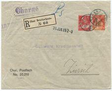1727 - 10+20 Rp. Privatganzsachen-Briefumschlag Per Einschreiben Von CHUR Nach ZÜRICH - Entiers Postaux
