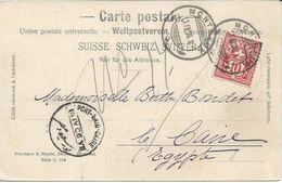 SUISSE EGYPTE 1906 Montreux Pour Le Caire, Cachet Ambulant PORT-SAID-CAIRE, Railway, Bahnpost, EGYPT - Carte Postale - Postmark Collection