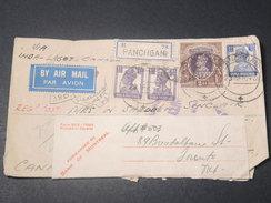 INDE - Enveloppe En Recommandé De Panchgani Pour Le Canada En 1943 Avec Contrôle Postal , Affr. Plaisant - L 11418 - India (...-1947)
