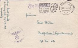 Feldpost WW2: Infanterie Ersatz Btl. 342 In Bayreuth With A Very Fine Bayreuth - Die Stadt Richard Wagners Postmark 24.9 - Militaria