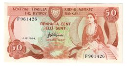 Cyprus 50 Sent 01/12/1984 AUNC - Cipro