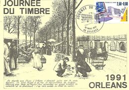 45  ORLEANS  Journée Du Timbre 1991 Le Tri Postal  10/03/91 - Stamp's Day