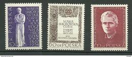 POLAND MNH ** 1633-1635 NAISSANCE DE MARIE MARIA SKLODOWSKA CURIE. PRIX NOBEL - 1944-.... Republik