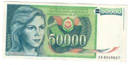 Yugoslavia 50000 Dinara 01/05/1988 AUNC ZA Replacement - Jugoslawien