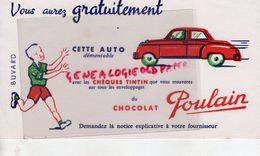 BUVARD CHOCOLAT POULAIN- CHEQUES TINTIN AUTO- AUTOMOBILE -VOITURE DEMONTABLE - Chocolat