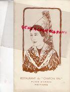 86- POITIERS- RARE MENU RESTAURANT DU CHAPON FIN-PLACE D' ARMES-11 JUILLET 1936-DIRECTEUR AUX AGENTS DE LA VIENNE - Menus