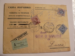 "1923  BELLA BUSTA ASSICURATA VIAGGIATA DA BANCA CON BEL FRANCOBOLLO DA 5 LIRE ""AQUILA"" SABAUDA PIU' BELLISSIMI TIMBRI - 1900-44 Victor Emmanuel III."