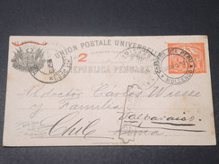 PEROU - Entier Postal De Mollendo Pour Lima Redirigé Vers Valparaiso En 1903 - L 11431 - Peru