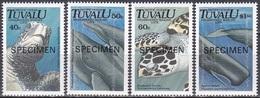 Tuvalu 1991 Tiere Fauna Animals Schildkröten Turtles Wale Whales Meerestiere, Mi. 591-4 ** SPECIMEN - Tuvalu (fr. Elliceinseln)