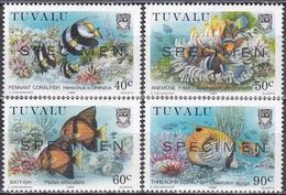 Tuvalu 1989 Tiere Fauna Animals Fische Fish Korallenriff Corals Meerestiere, Mi. 545-8 ** SPECIMEN - Tuvalu (fr. Elliceinseln)