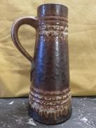 269 – Vase Pichet En Céramique Nuances De Marron Moucheté - Ceramics & Pottery