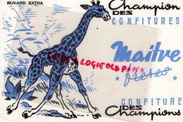 92- BILLANCOURT- BUVARD CONFITURE MAITRE FRERES- GIRAFE BLEUE- - Alimentaire
