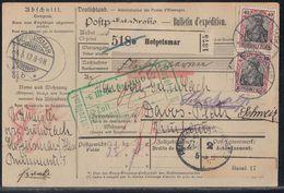 DR Paketkarte Mef Minr.2x 90I Hofgeismar 4.3.12 Gel. In Schweiz - Briefe U. Dokumente