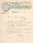Lettre Commerciale Ancienne/ Manufacture De Confection & De Lingerie/J LAVIGNE/Place Du Palais/BORDEAUX/1910   FACT301 - Textile & Vestimentaire
