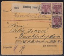 DR Paketkarte Mif Minr.3x 157, 5x 182 Blomberg 13.7.22 - Covers & Documents