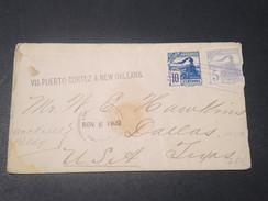 """HONDURAS - Enveloppe Pour Dallas En 1900 , Griffe """" VIA PUERTO CORTEZ & NEW ORLEANS """" - L 11439 - Honduras"""