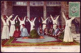 Ottoman Turkey Derviches Tourneurs 1909 Color Photo Postcard - Turchia