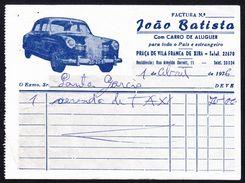 Táxi Invoice/ Factura De Táxi - Carro De Aluguer João Batista, Vila Franca De Xira // Portugal 1976 - Portugal