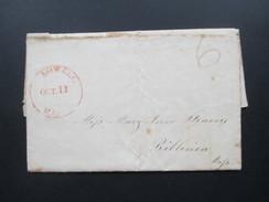 USA 1831 Bartaxe 6 Cents Roter Einkreisstempel K1 Lowell Oct. 13 Mass / Massachusetts. Mit Inhalt! Interessant??!! - …-1845 Vorphilatelie