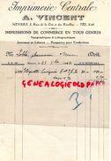 58- NEVERS- FACTURE IMPRIMERIE CENTRALE- A. VINCENT-3 RUE DE LA CITE ET RECOLLETS-1942 IMPRIMEUR - Imprimerie & Papeterie