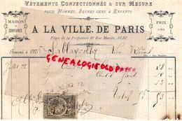 81- ALBI- RARE FACTURE 1892- A LA VILLE DE PARIS- VETEMENTS -PLACE PREFECTURE ET RUE MARIES- TIMBRE QUITTANCE 10 C - 1800 – 1899