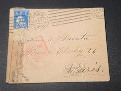 PORTUGAL - Enveloppe De Lisbonne Pour Paris En 1915 Avec Contrôle Postal - L 11445 - 1910-... République