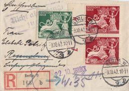 DR R-Brief Mif Minr.763,3x 816,817 Berlin 9.10.42 Gel. Nach Regensburg Irrläufer 22.10. Zurück - Briefe U. Dokumente