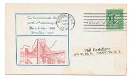 1946 Brooklyn New York 300th Anniversary Breukelen 1646 Commemorative Cacheted Card Of Brooklyn Bridge - Event Covers