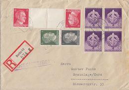 DR R-Brief Mif Minr.4x 818, Zdr. Minr.S 270, KZ 41 Berlin 19.12.42 - Briefe U. Dokumente