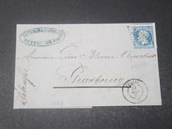 FRANCE - Lettre De Mutzig Pour Strasbourg En 1867 , Affr. Napoléon Avec Variété De Piquage , Obl GC 2592 - L 11448 - Marcophilie (Lettres)