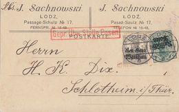 Dt. Post In Polen Karte Mif Minr.2,6 Lodz 12.8.16 Zensur - Besetzungen 1914-18
