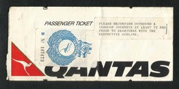Qantas  Airline Transport Ticket Used Passenger Ticket With Security Label - Transportation Tickets