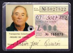 Portugal, PASSE 2002 - Transportes Colectivos . Região De Lisboa // Réformé Senior/ Reformado 3ª Idade - Europe