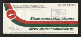 Biman Bangladesh Airline Transport Ticket Used Passenger Ticket - Transportation Tickets