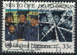 Nations Unies 1987 Oblitéré Used Yes To Life No To Drugs Oui à La Vie Non Aux Drogues SU - New-York - Siège De L'ONU