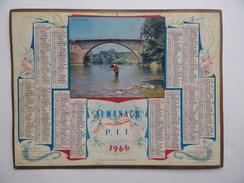CALENDRIER POSTE 1966 ALMANACH Pêche à Navarrenx (64) Basses-Pyrénées CALENDAR KALENDER - Big : 1961-70