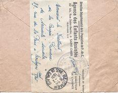 SAINT OMER 1951 Franchise Agence Des Enfants Assistés Franchise Sécurité Sociale Sur Enveloppe Du 18/9/1950 ??? - Bolli Manuali