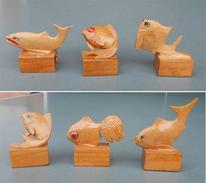 6 Pesci In Legno, 6 Wooden Fish, Vintage China. Temperamatite, Pencil-sharpener, Taille Crayon, Anspitzer. Never Used - Fish