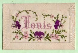"Carte Brodée  Avec Fleurs ;prénom "" Louis"" - Bestickt"