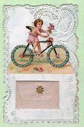"""Carte Fantaisie , Découpis , Angelot Sur Un Vélo , Mini Enveloppe Avec Mini Carte """"Bonne Année"""" - Phantasie"""