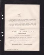 TONGRES MONTREUX SUISSE Camille VAN CAMP Peintre D'histoire 1834-1891 Famille VANOVERBEKE De GIENANTH Enterrement Civil - Todesanzeige